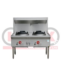 2 BURNER WOK BENCH FRONT DRAIN-1200mmL REMOVABLE SPLASH BACK^t
