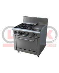 LKK 4 OPEN BURNER WITH 300mm GRIDDLE AND STATIC OVEN