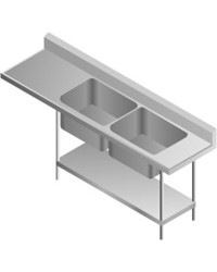 DOUBLE SINK TABLE-RIGHT, 2135x700x900